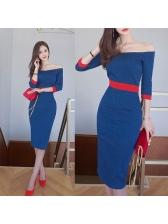 Elegant Boat Neck Color Block Denim Dresses