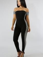 Black And White Plaid Off Shoulder Jumpsuit