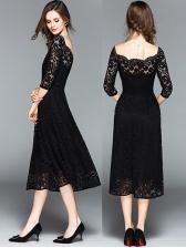 Off Shoulder Hollow Out Lace Long Dresses