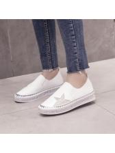 Casual Diamond Round Toe Slip On Flats Shoes
