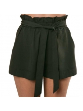 Elegant Bow Solid Loose Short Pants With Belt