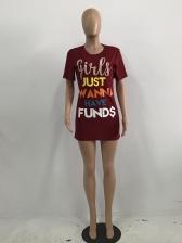 Fashion Letter Print Short Dresses For Women