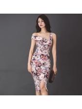 Chic Off Shoulder Slit Floral Dresses