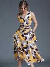 Chic Euro Geometric Pattern V Neck Sun Dresses