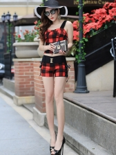 Sexy Plaid Straps Tops With Short Pants