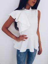 Fashion Flounce Sleeveless Solid Shirt