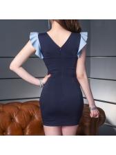 Summer Fashion Color Block High Waist Short Dresses