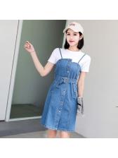Vintage Sleeveless Denim Long Dresses