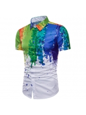 Summer Fashion Colorful Splash Ink Printing Shirts