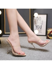Euro Style Crystal Open Toe High Heels Slippers