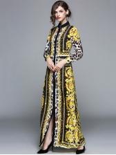 Fashion Leopard Printing Long Sleeve Long Dresses