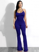 Hot Sale Solid Wrap Hip U-Neck Jumpsuit