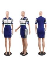 Sexy Plaid V-neck Zipper Club Dress