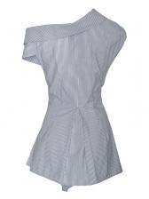Unique Design Cline Neck Striped Blouse
