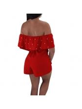 Summer Off Shoulder Solid Romper For Women