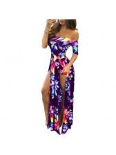 Sexy Off Shoulder Floral Slit Long Dresses