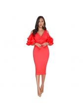 Elegant V Neck Short Sleeve Party Dresses