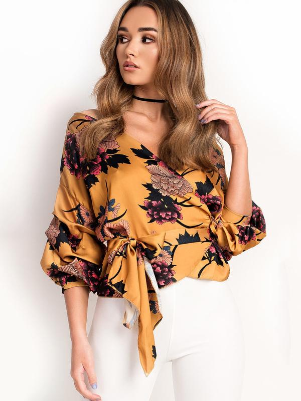 Euro Fashion Tie-wrap Floral Blouse
