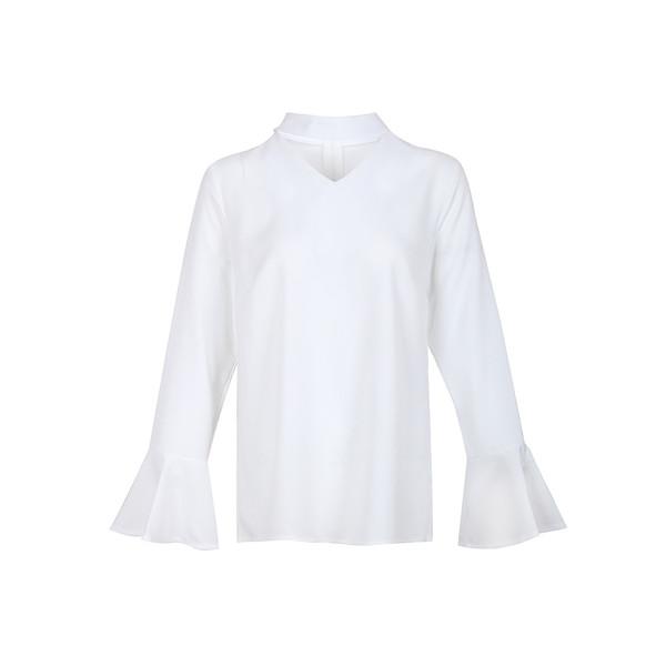 V-neck Flare Sleeve Solid Chiffon Blouses
