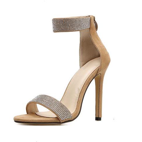 Euro Style Sequined Zipper Open Toe Pumps Sandals