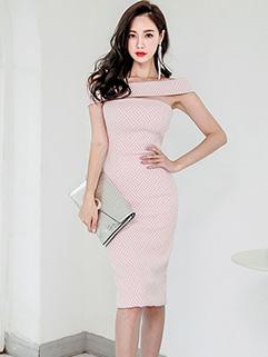 Elegant Bodycon Boat Neck Printed Dresses