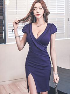 Sexy Deep V Neck Slit Short Sleeve Dresses
