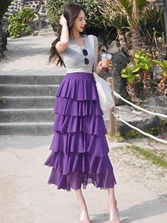 Korean Style V-Neck Knit Tops Layered Ruffles Long Skirt