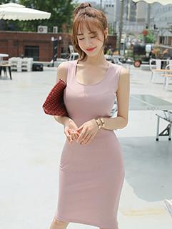 Elegant Solid Bodycon Sleeveless Dresses