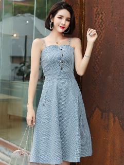 Korea Chic Fitted Striped Straps Denim Dress