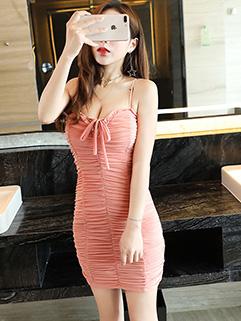 Low Cut Solid Spaghetti Strap Sexy Dresses