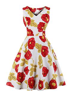 Vintage V Neck Sleeveless Floral Dresses