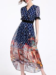 Retro V Neck Printed Short Sleeve Maxi Dresses