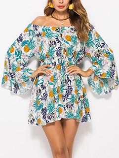 Chic Off Shoulder Floral Ladies Dresses
