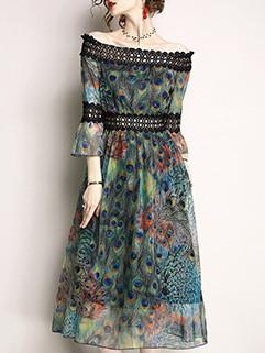 Vintage Printed Boat Neck Patchwork Chiffon Dresses