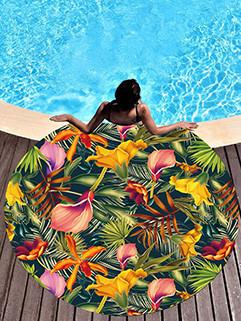 Tropical Fashion Floral Printing Round Beach Scarf