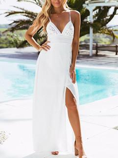 V-neck Split Hem Backless Lace Maxi Dress