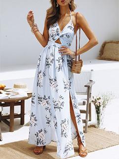 V-neck Hollow Out Split Backless Halter Dress