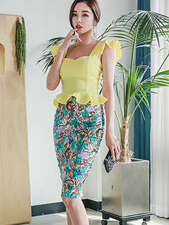 Rippled Edge Top With Wrap Printing Skirt Suit