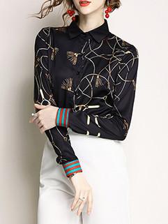 Fashion Easy Matching Temperamente Printing Blouses