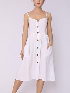 Summer Sleeveless Single-breasted Cardigan Dress