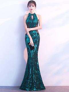Elegant Halter Sequined Bodycon Fishtail Evening Dresses