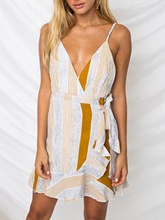 Flounce Sexy Deep V Neck Spaghetti Strap Dresses