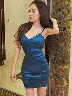 Sexy Solid Spaghetti Strap Short Dresses