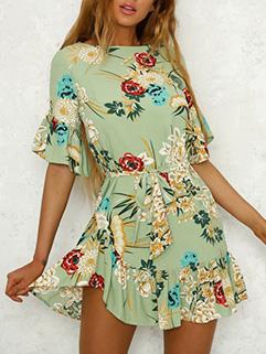 Sweet Flare Sleeve Bohemian Floral Dresses