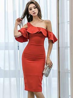 Korean Flounce Off Shoulder Wrap Dresses