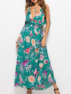 Elegant Floral Sleeveless Strap Maxi Dresses
