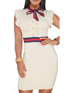 Summer Bow Flounce Wrap Short Dresses