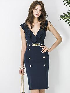 Deep V Neck Flounce Wrap Sleeveless Dresses