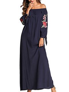 Muslim Off Shoulder Applique Maxi Dresses