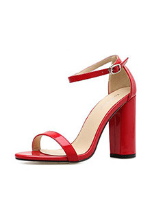 Euro One-Buckle Belt Chunky Heel Sandals